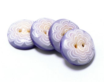 Polymer Clay Buttons chrysanth white semi transparent purple set of four