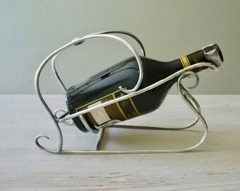 Vintage silver plated bottle holder, Wiskemann silver bottle cradle,  wine or liquor bottle holder