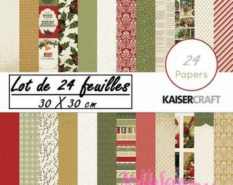 "Set of 24 sheets theme ""Yuletide"" KaiserCraft's 30 X 30 cm scrapbooking (ref.210) *."