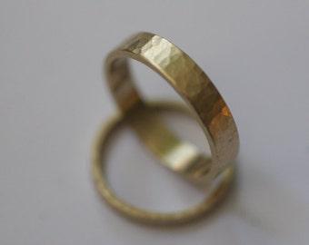 10k yellow gold hammered,  flat band wedding set (2 rings)