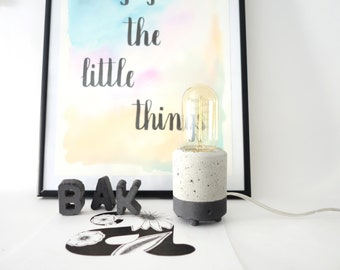 Concrete Lamp, Table lamp, Desk lamp, Home decor, Concrete Table Lamp, cool lamps, Edison lamp base, Edison lamp, edison bulb, grey lamp