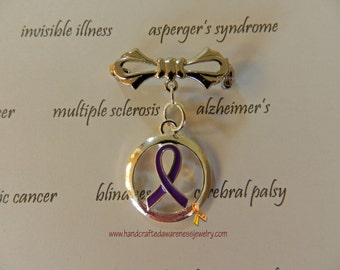Purple Ribbon Awareness Brooch, Fibromyalgia, Chron's, Alzheimer's, Migraines, ADHD, Epilepsy, Sterling Silver Plated Pin
