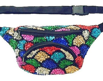 Mosaic Shell Sequined Fanny Pack