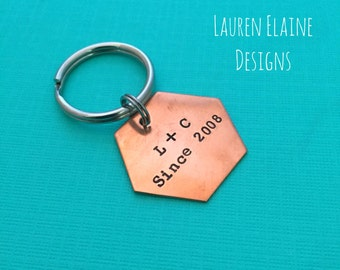 """Custom Hand Stamped 1"""" Hexagon Geometric Keychains- You Personalize- In Aluminum, Brass, or Copper"""