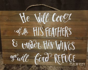 Cover you with his feathers (Pslam 91:4) Wooden Decoration
