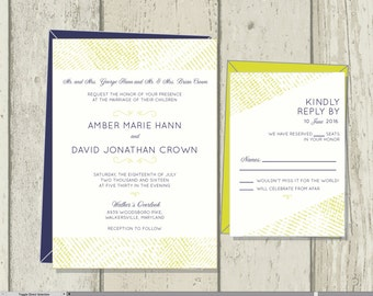 Navy and Chartreuse Wedding Invitations