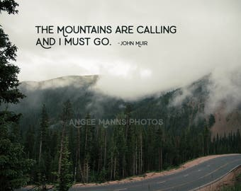 Mountain Photo, Landscape Photo, Clouds, Inspirational Quote