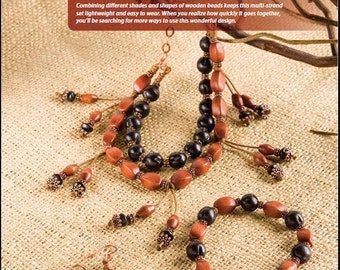 Tutorial In the Woods Necklace, Bracelet and Earrings, Wood Beads, Copper Beads, Copper Chain
