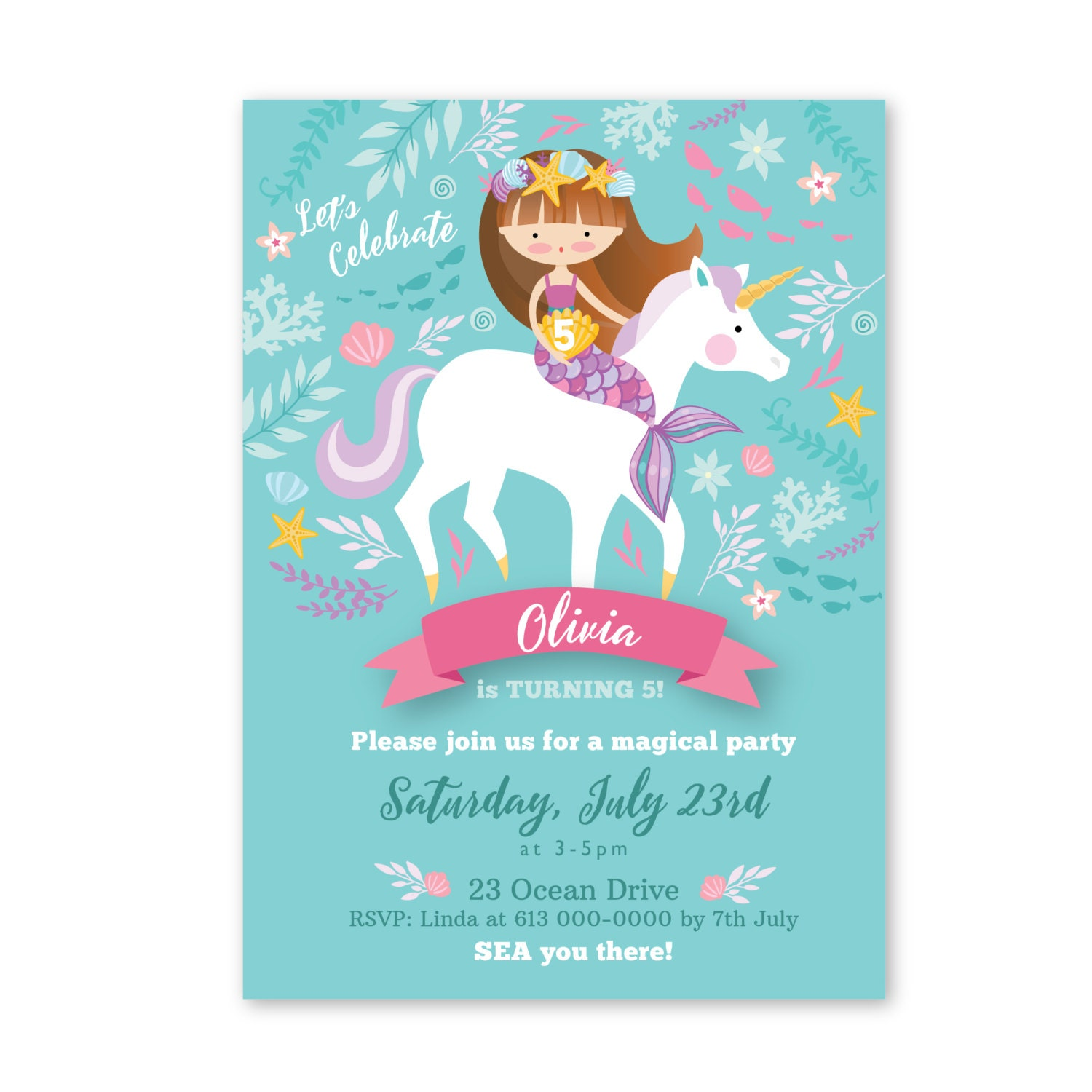 Mermaid Unicorn Invitation, Printable, Customized, DIY invitation ...