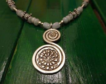 Silver Amethyst aquamarine necklace