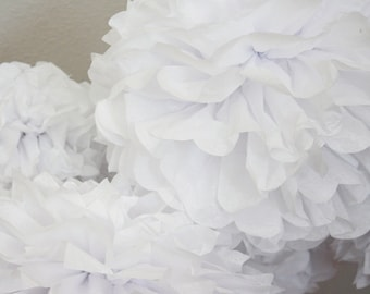 20 Tissue Paper Pom Poms - White Wedding Poms - Baptism or Christening Decoration