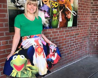 Muppet Show skirt inspired by Kermit, Fozzie, Gonzo and Miss. Piggy!