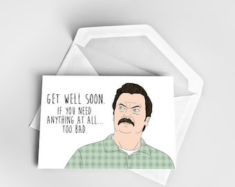 Get Well Card, Funny Get Well Card Greeting Card, Card Get Better, Card Greeting Ron Swanson, Parks and Recreation Get Well Soon Card, Ron
