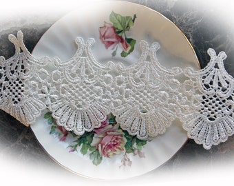 Reneabouquets Trim- 3.5 Inch Wide Scallop Shell Lace In White, Embroidery,  Venice , Bridal, Costume Design, Lace Applique, Crafting
