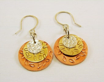 Mixed Metal Disk Hand Stamped Sterling, Copper and Red Brass Earrings