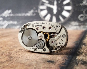 Silver Lapel Pin, Elgin Watch Movement, Silver Tie Tack, Elgin Tie Tack, Steampunk Tie Tack, Lapel Pin, Watch Lapel Pin, Unique Gifts
