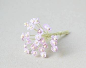 8 mm  / 20 Purple Mulberry Paper  Flowers