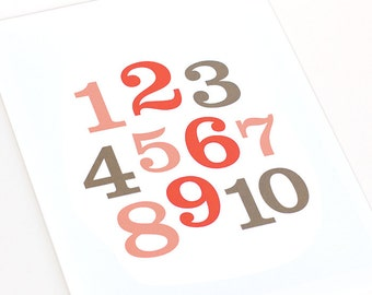 Numbers Art Print / Personalized Nursery Wall Art / Custom Numbers and Letters Art / Choose your colors and size