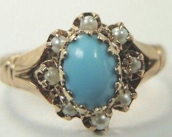 Antique Victorian Persian Turquoise Pearl 14K Yellow Gold Ring | RE-1014