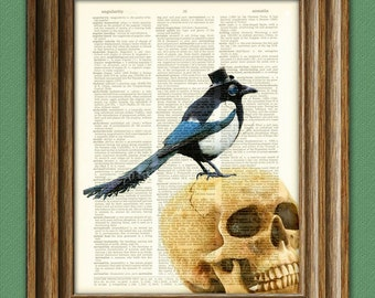 Bird Magpie Gothic Art Print Guv'nor Godfrey Gothic MAGPIE with hat and monocle on a skull dictionary page illustration book print