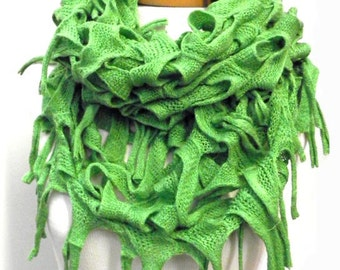 Green Crochet Infinity Scarf, Womens Knit Cowl Scarf, Loop Scarf, Brown,Black,White,Beige,Green