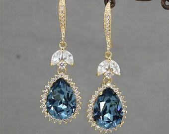 Navy Blue Rhinestone Earrings, Wedding Earrings Gold ,Swarovski Earrings, Bridesmaids Jewelry, Crystal Drop Earrings, Sapphire Earrings