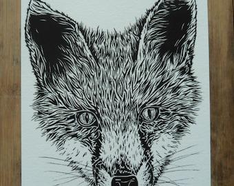 Fox Face 5 x 8 giclee art print, fox print, fox art, black and white illustration, animal art, wall art, wildlife art