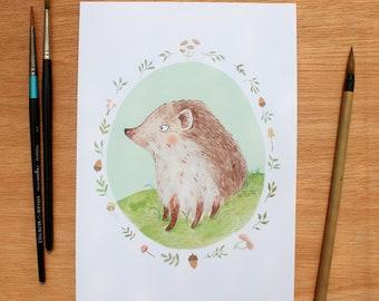 Hedgehog A5 Art Print