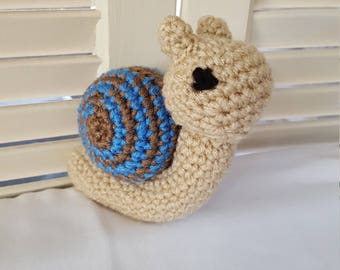 Snail Stuffed Animal Crochet Toy/ Blue And Brown Shell/ Amigurumi Plush Doll/ Handmade Toys/ Plush Doll/ Gift For Children