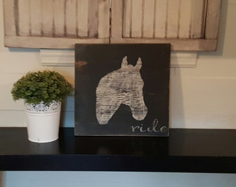 Distressed and vintage look ride sign/Equestrian /horseback riding/barn