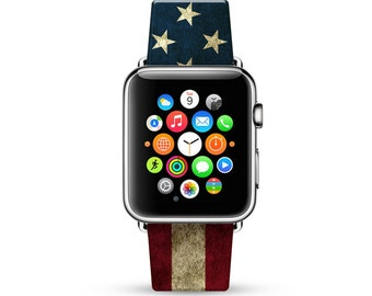 Apple Watch Band 38mm, 42mm for Series 1, 2 & series 3 Apple Watch Strap Calf Leather Wrist Band with Metal Adapter, USA Flag United State