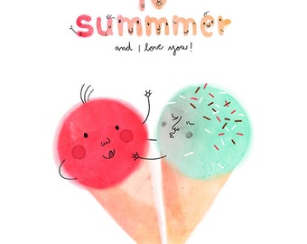 I love summmer. Colorful ice creams. Poster.