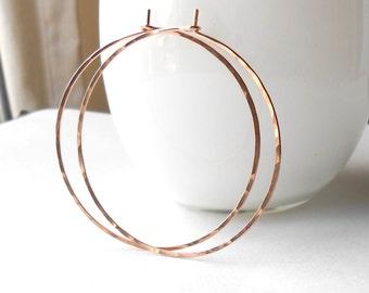 Large Hammered Rose Gold Hoop Earrings