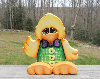 Adorable yellow spring chick hand painted wood craft
