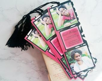 Graduation Bookmark Set - Graduate Bookmark - Graduation Favors - Photo Bookmark Invitation Set - Custom Bookmarks with Tassels
