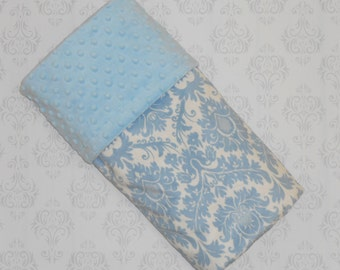 Damask baby blanket etsy clearance baby blue and white damask minky baby blanket minky blanket personalized negle Images