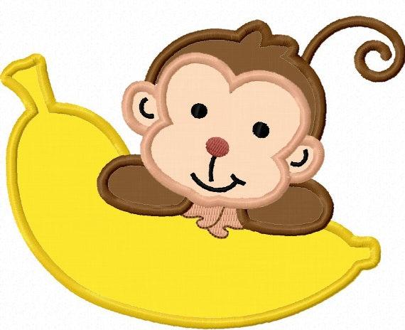 Monkey With Banana Applique Machine Embroidery Design No 0019