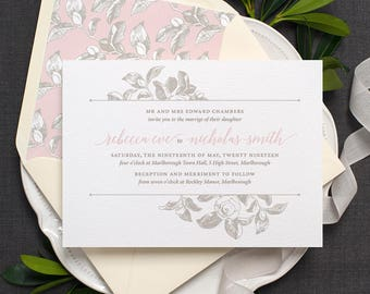 Botanical Wedding Invitation / 'Vintage Rose' Modern Calligraphy Floral Wedding Invite  / Dusty Rose Blush Pink Light Grey / ONE SAMPLE