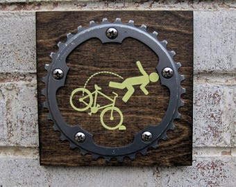 "6""x6"" Recycled Bicycle Chainring OTB Plaque"