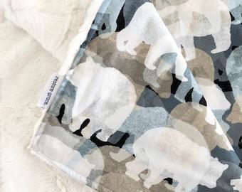 Bears Into The Woods Baby Boy Pram Blanket