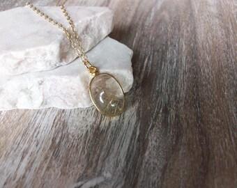 Gold Rutilated Quartz Necklace on Gold Chain Gold Rutilated Quartz Necklace Cool Quartz Jewelry Gemstone Jewelry Unique Quartz Pendant N0700