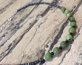 BOLD Statement  sterling silver chrysoprase , black spinel and Hematite necklace.