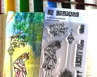 In Courage Arts 4X6 Clear Photopolymer Stamp Set Lamppost Perfect for Bible Journaling Or Card Making