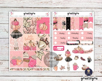 Pink Autumn Planner Stickers Weekly Kit, Shabby Chic, Fall Planner stickers for Erin Condren Vertical and Happy Planner Vertical