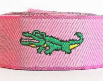 "Alligator Woven Jacquard Ribbon, 7/8"" - Pink and Green"