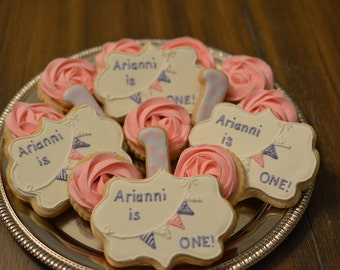 Rosette and Bunting Birthday Cookies