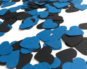 Heart Confetti, blue wedding decor, heart party decor, table decoration, table confetti, asile runner confetti, invitation heart, blue black