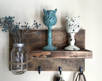 entryway shelf, key holder, wall vase, shelf with hooks, kitchen shelf, farmhouse shelf, rustic shelf,  reclaimed wood, mason jar wall vase