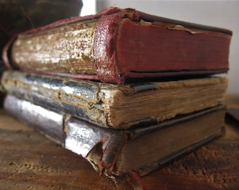 Antique Books by Female Authors, Old Distressed Book Stack, Small Primitive Decorative Books, Early 1800s Literature
