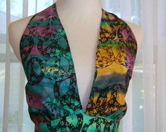Retro Sixties Look Tie Dye Batik Apron